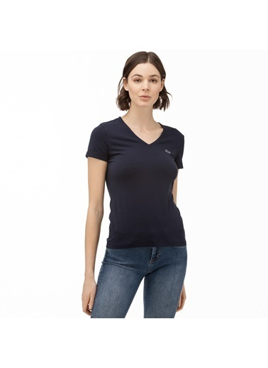 Lacoste  Pamuklu Slim Fit V Yaka T Shirt Kadın T Shırt Tf0999 166 Lacivert